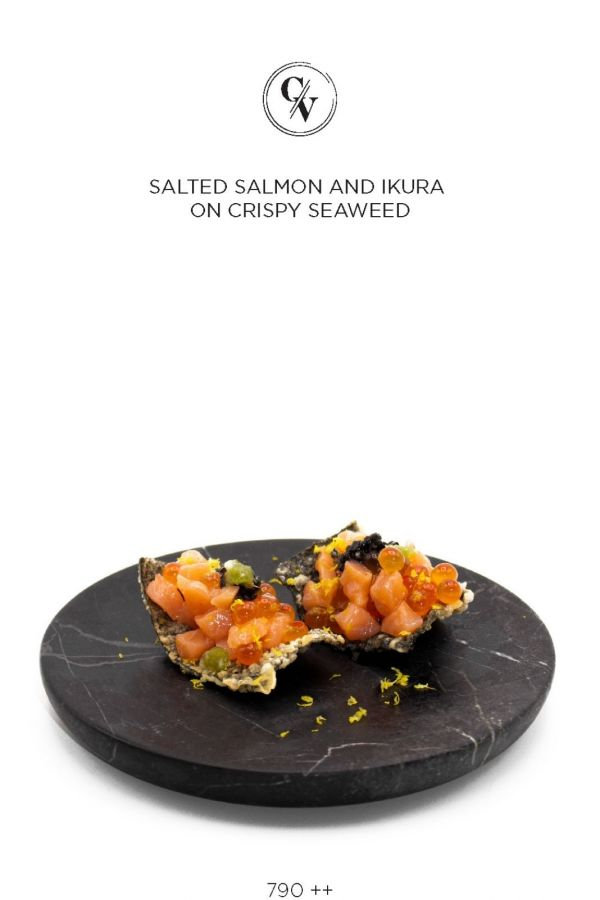 Caviar Cafe : SALTED SALMON AND IKURA ON CRISPY SEAWEED
