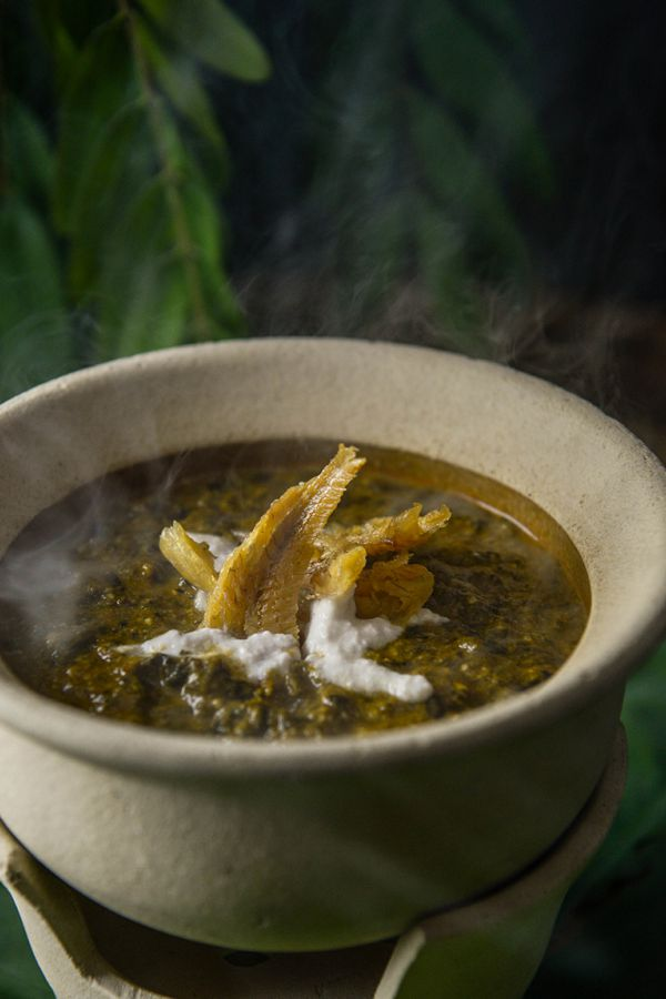 Ma Maison : Cassia leaves and coconut milk curry with a choice of grilled pork, beef, or fish
